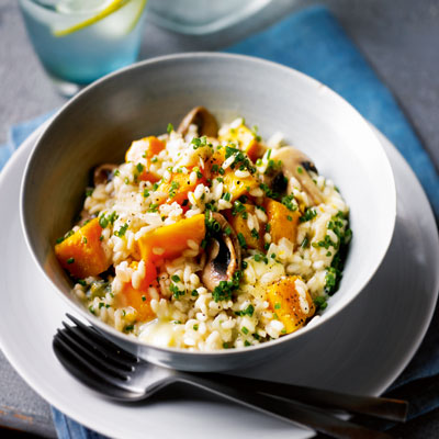 Mushroom, squash and blue cheese risotto