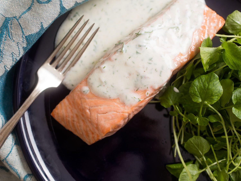 Poached Salmon With Dill-Yogurt Sauce Recipe