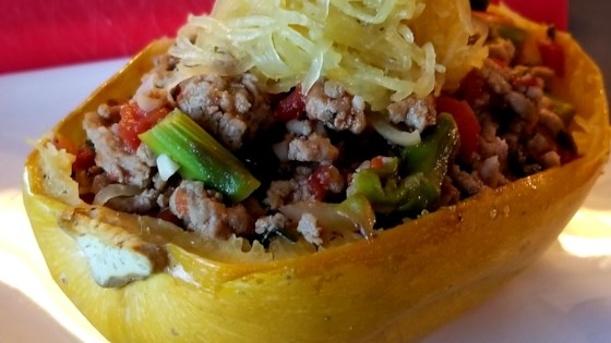 Roasted Spaghetti Squash with Ground Turkey and Vegetables Recipe
