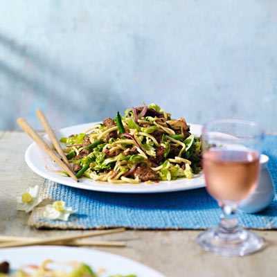 Beef and green bean noodle salad