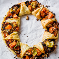 The Happy Pear's vegan sweet potato and cranberry wreath