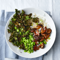 Shiitake mushroom and crispy kale rice bowls