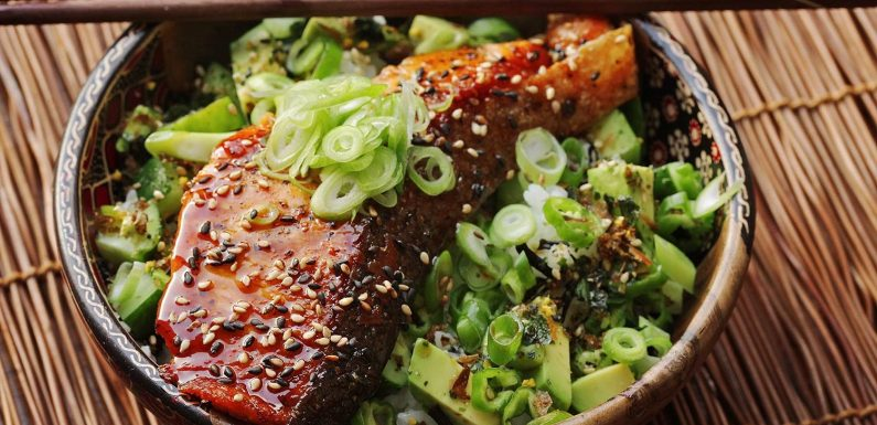 Easy Teriyaki-Glazed Salmon, Cucumber, and Avocado Rice Bowls Recipe