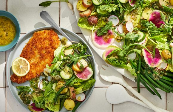 Chicken Cutlets with Spring Vegetable Salad and Herb Vinaigrette