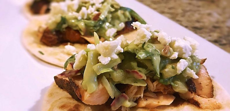 Blackened salmon tacos with Spicy Avocado pear slaw