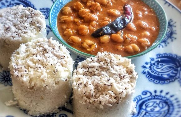 Puttu kadala (steamed rice cake and chickpea curry)Kerala Breakfast
