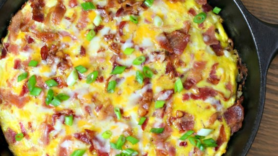 Cheesy Bacon-Sausage-Egg-Hash Brown Skillet Recipe