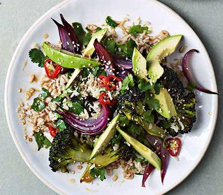 Avocado, roasted broccoli & sesame rice salad