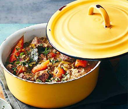 Buckwheat & spring lamb stew