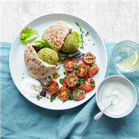 Baked Pea 'falafel' with tomato and herb salad