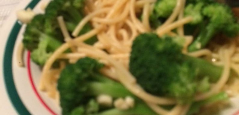 Spaghetti  potato and broccoli bowl