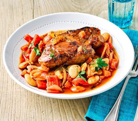 Spanish pork with beans