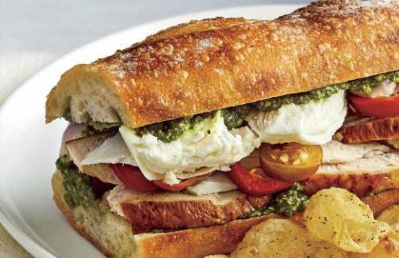 Turkey, Pesto, and Fresh Mozzarella Sandwich