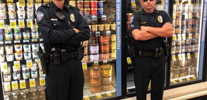 Police Officers Guard Blue Bell Ice Cream Following Viral Licking Video