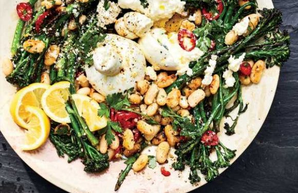 Cacio e Pepe Broccolini with Crispy White Beans and Burrata
