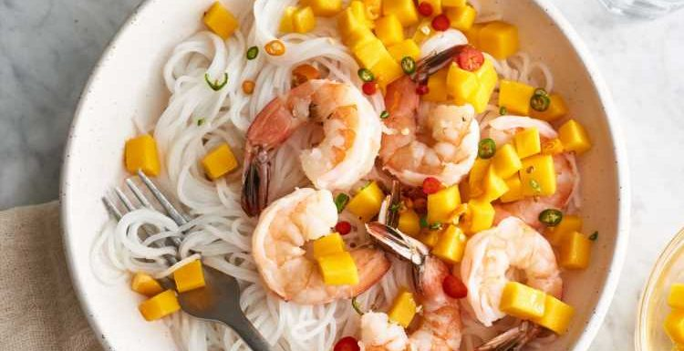 Cold Coconut Rice Noodles with Poached Shrimp, Mango, and Thai Chile