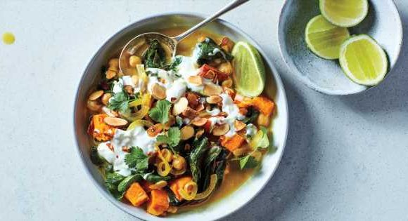 Coconut-Braised Chickpeas with Sweet Potatoes and Greens