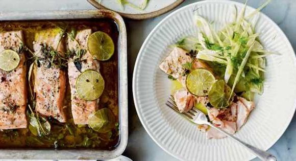 Salmon Confit with Lime, Juniper, and Fennel