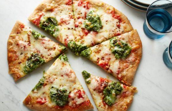 Healthy Whole-Wheat Pizza with Arugula Parsley Pesto