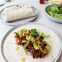 Vegan jackfruit breakfast burritos