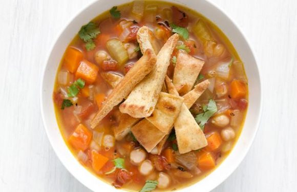 Chickpea Soup with Spiced Pita Chips