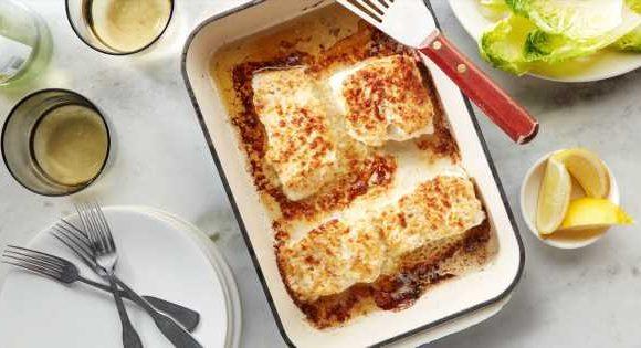 Roasted Garlic and Parmesan Baked Halibut