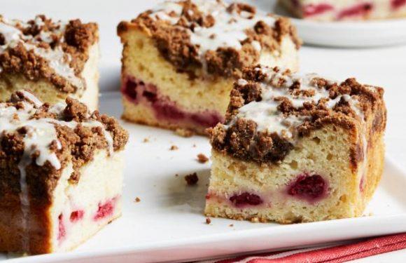 Lemon-Glazed Raspberry Coffee Cake